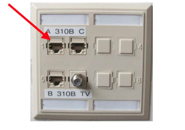 "An outlet in a wall with 8 slots in two rows, the first two columns of which are open; the jack in the upper-left corner is indicated, labeled ""A"" and with a raised number one to the left."
