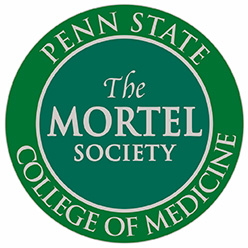 "A circular green symbol, with ""Penn State College of Medicine"" in a ring around the edge, with ""The Mortel Society"" in the middle."