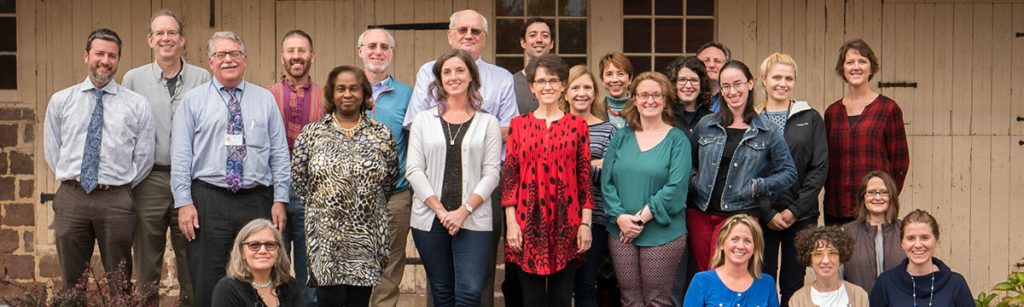 Members of the Department of Humanities at Penn State College of Medicine include, front row from left, Martha Peaslee Levine, MD, Lynn Matincheck, Jennifer McCormick, PhD, Lori Gelatt, Rebecca Volpe, PhD; back row from left, Dan Shapiro, PhD, Michael Green, MD, Dennis Gingrich, MD, Benjamin Levi, MD, PhD, Lynette Chappell-Williams, BA, JD, Dan Wolpaw, MD, Joe Gascho, MD, Carly Smith, PhD, Danny George, PhD, Kimberly Myers, PhD, Cheryl Dellasega, CRNAP, PhD, Katherine Valenziano, DHM, MS, RN, LJ VanScoy, MD, Betsy Blyler, Paul Haidet, MD, Renee Stewart, Keeley McCue and Deb Tomazin. Not pictured are J.O. Ballard, MD, Claire de Boer and Margaret Hopkins.