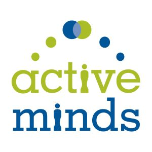 "Six dots arranged in an arc over the words ""active minds"" in blue and green on two lines, with letter ""i"" in each word replaced with a representational graphic of a person."