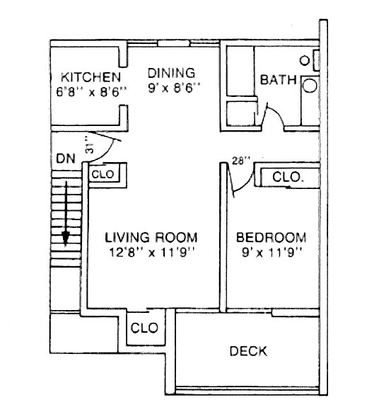The floor plan for a one-bedroom apartment in University Manor East at Penn State College of Medicine shows a living room, bedroom, full bathroom, dining area and kitchen, as well as closets and a deck.