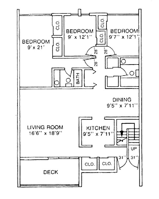 The floor plan for a three-bedroom apartment in University Manor East at Penn State College of Medicine shows a living room, three bedrooms, full bathroom, dining area and kitchen, as well as closets and a deck.