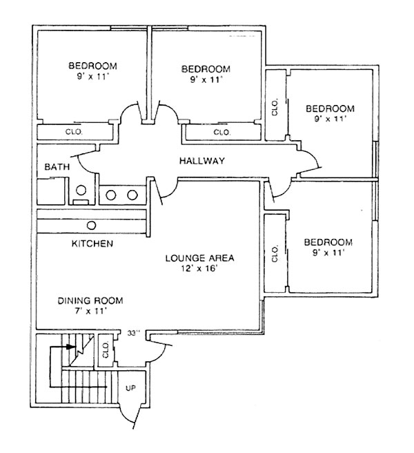 The floor plan for a four-bedroom apartment in University Manor West at Penn State College of Medicine shows a living room, four bedrooms, full bathroom, dining area and kitchen, as well as closets and a deck.