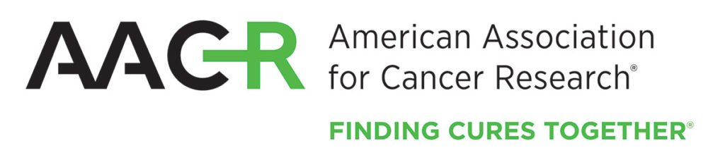 """The logo for the American Association for Canncer Research also includes the text """"Finding Cures Together."""""""
