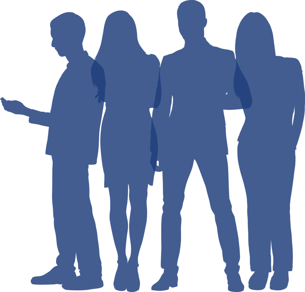 The silhouettes of four people are seen. The image is the icon for Career Day.
