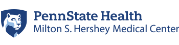 The logo for Penn State Health Milton S. Hershey Medical Center includes the medical center name and Penn State's Nittany Lion shield image.