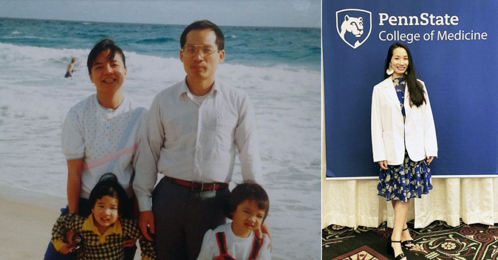 Alyssa Wang Tuan, a second-year medical student in 2019-2020, is pictured in childhood with her family in one image and standing in front of a Penn State College of Medicine sign in another.